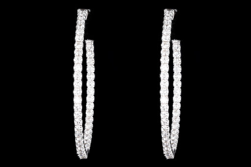 New 14K White Gold 2.05 Carat In and Out Diamond Hoop Earrings - Queen May