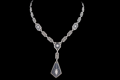 Art Deco 14K White Gold Filigree Rock Crystal & Diamond Necklace - Queen May