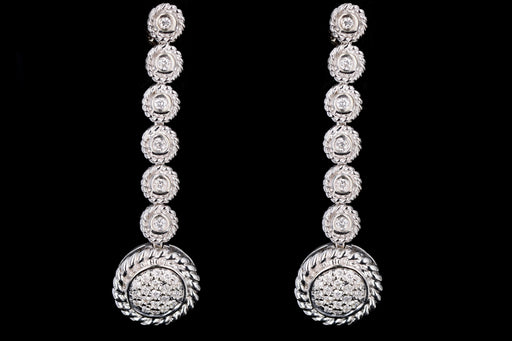 Modern 14K White Gold .30 Carat Round Brilliant Diamond Drop Earrings - Queen May