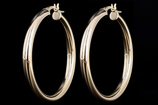 New 14K Yellow Gold Hoop Earrings 4 MM x 40 MM (large size) - Queen May