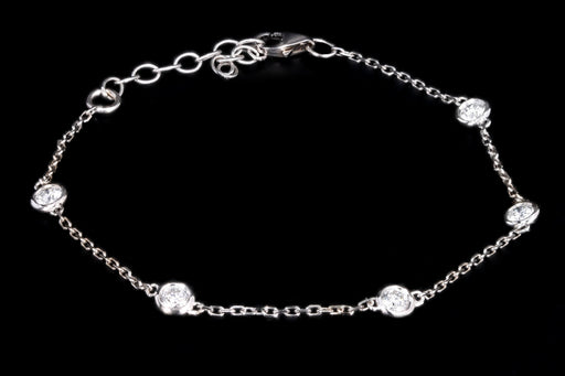 New 14K White Gold .48 Carat Diamond By The Yard Bracelet - Queen May