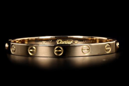 Cartier 18K Yellow Gold Love Bracelet Size 16 - Queen May