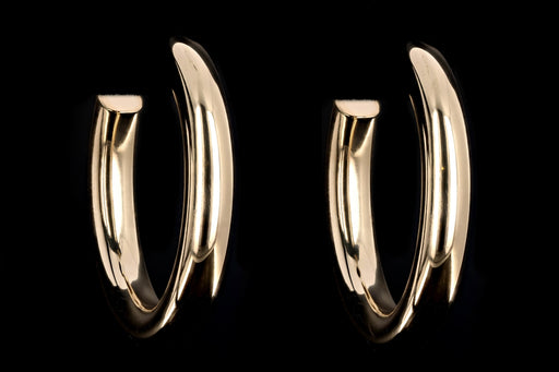 New 14K Yellow Gold Large Open Hoop Earrings - Queen May