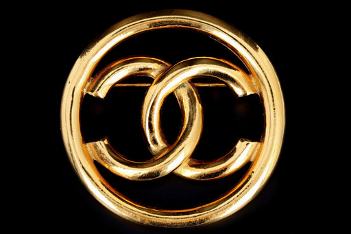 Vintage Chanel Gold Plated CC Brooch - Queen May