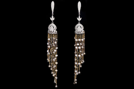 Modern 14K White and Yellow Gold 3 Carats in Total Round Diamond Dangle Earrings - Queen May