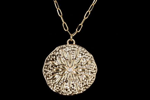 New 14K Yellow Gold Medallion Pendant Paperclip Necklace - Queen May