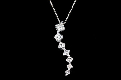 Modern 14K White Gold .50 Carats in Total Princess Cut Diamond Pendant Necklace - Queen May