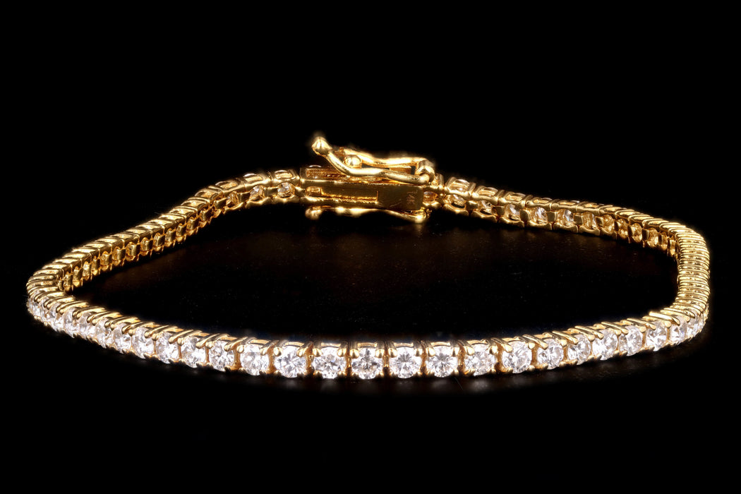 New 14K Yellow Gold 5.93 Carat Round Brilliant Cut Diamond Tennis Bracelet - Queen May