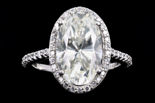 New 14K White Gold 4.01 Carat Oval Cut Diamond Halo Engagement Ring GIA Certified