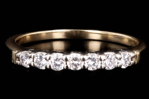 Modern 14K Gold .35 Carat Round Brilliant Diamond Band - Queen May