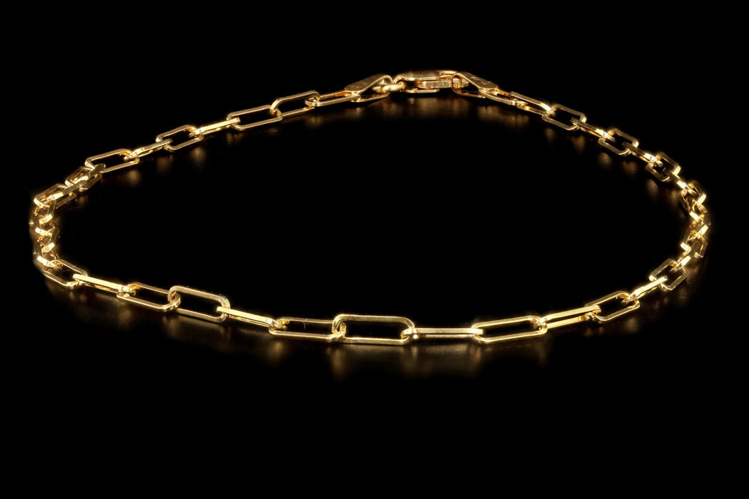 New 14K Yellow Gold Open Link Chain Anklet - Queen May