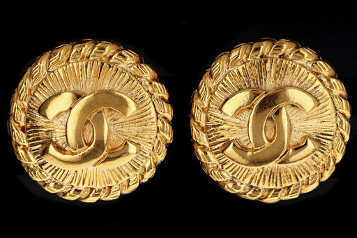 Vintage Chanel Small Coin Clip On Gold Plated Earrings - Queen May