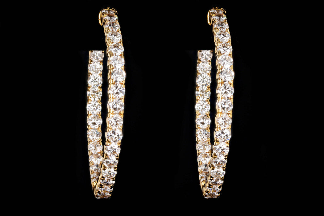New 14K Yellow Gold 5.38 Carat Round Brilliant Diamond Hoop Earrings - Queen May