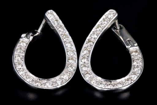 Modern 14K White Gold .75 Carat Total Round Brilliant Cut Diamond Hoop Earrings - Queen May