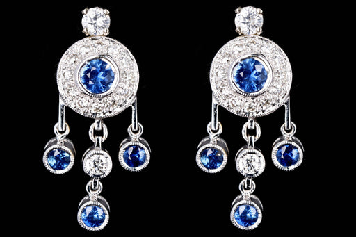Modern 18K White Gold .85 Carats Sapphire & Diamond Dangle Earrings - Queen May