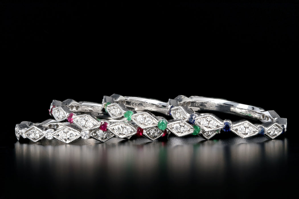 14K White Gold Diamond and Emerald, Ruby or Sapphire Half Eternity Band - Queen May