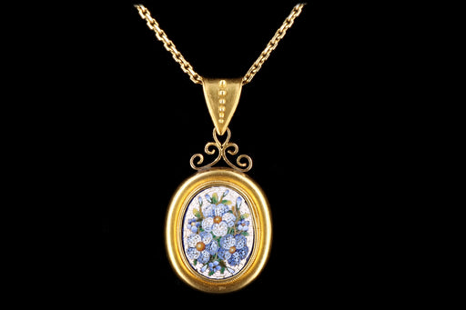Victorian 22K Yellow Gold Micro Mosaic Pendant Necklace - Queen May