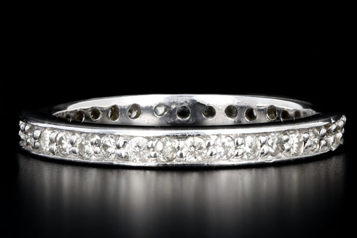 Modern 14K White Gold .50 Carats Round Brilliant Cut Diamond Eternity Band - Queen May