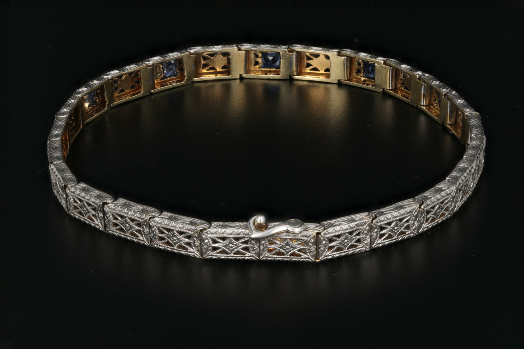 Edwardian 14K & Platinum Wordley, Allsop & Bliss French Cut Sapphire Bracelet. - Queen May