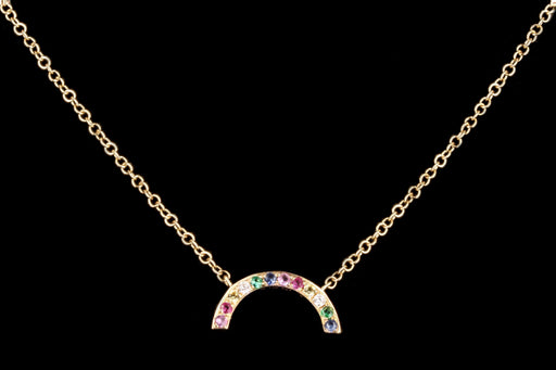 New 14k Yellow Gold Rainbow Necklace - Queen May