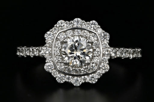 18K White Gold .50 Carat Diamond Halo Engagement Ring - Queen May