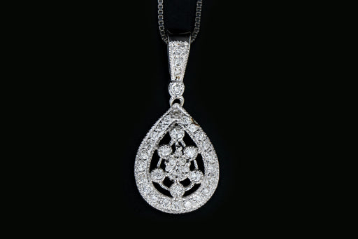 14K White Gold .50 Carat Diamond Pendant Necklace - Queen May