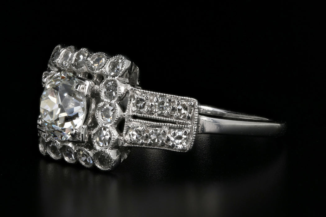 Art Deco Platinum .89 Carat Old European Cut Diamond Engagement Ring - Queen May