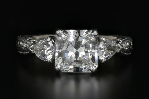 Platinum 2.01 Carat Radiant Cut Diamond Engagement Ring - Queen May