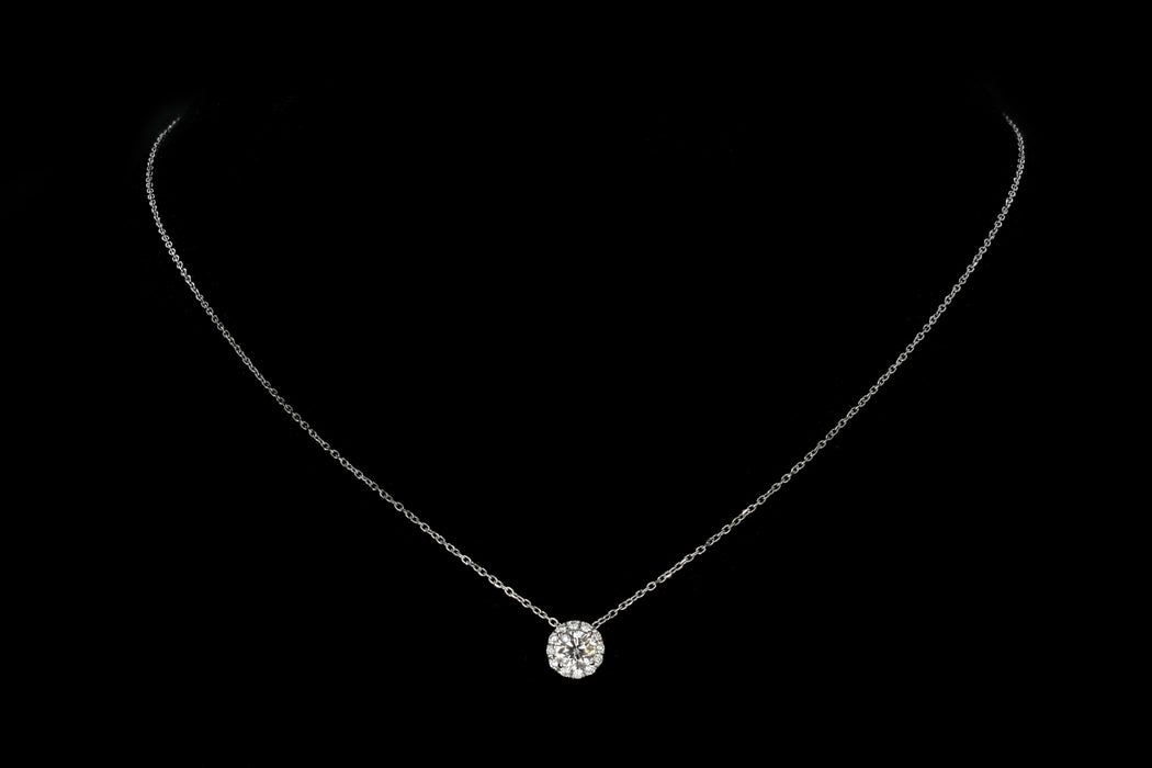14K White Gold .50 Carat Diamond Halo Pendant Necklace - Queen May