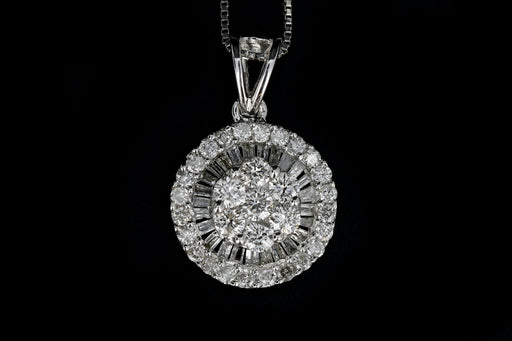 Modern 18K White Gold .5 Carat Diamond Weight Total Pendant Necklace - Queen May