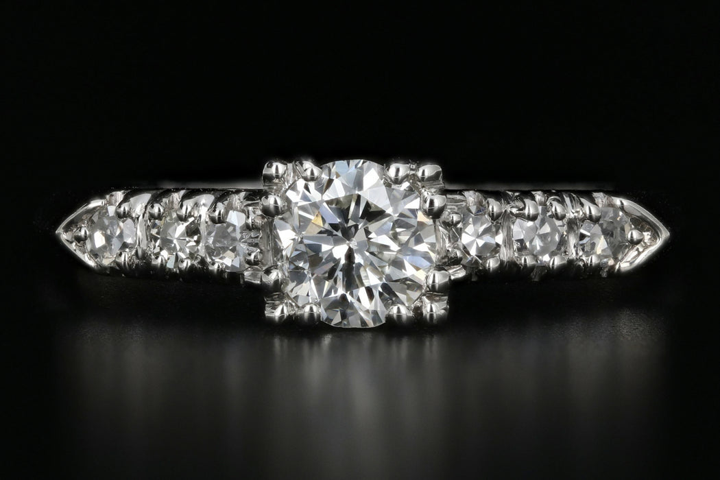 Vintage Platinum .45 Carat Diamond Engagement Ring - Queen May