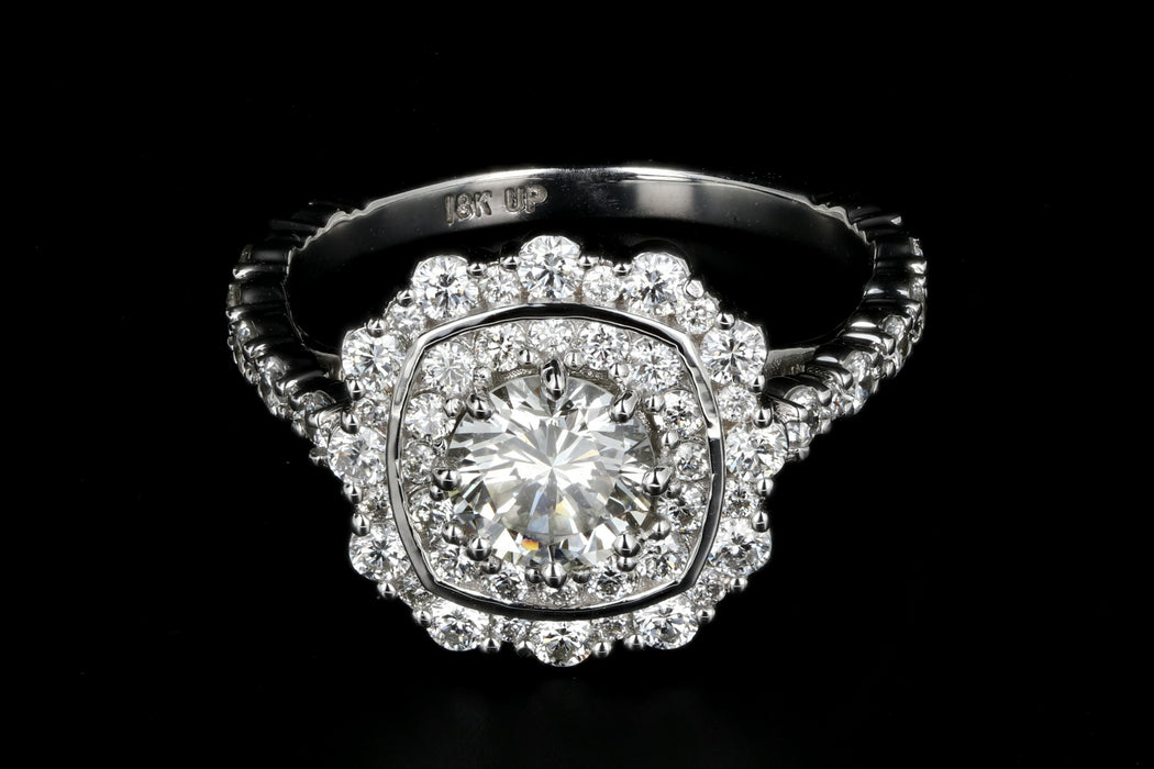 New 18K White Gold .80 Carat Diamond Halo Engagement Ring - Queen May