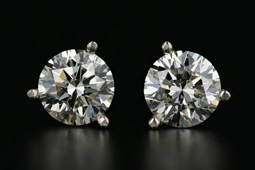 New 14K White Gold 2.05 Total Carat Weight Diamond Earrings GIA Certified - Queen May