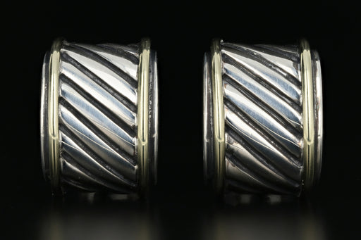 David Yurman Two-tone Cigar Band Cable Classic Earrings - Queen May