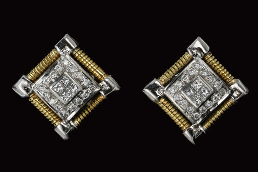 Modern 18K White and Yellow Gold .30 Carat Diamond Weight Total Earrings - Queen May