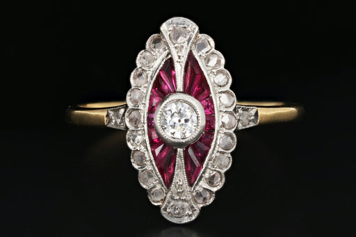 Edwardian French Ruby, Rose Cut & Old European Cut Diamond Ring - Queen May