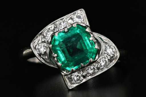 Vintage 1.5 Carat Columbian Emerald and Diamond 14K White Gold Ring - Queen May