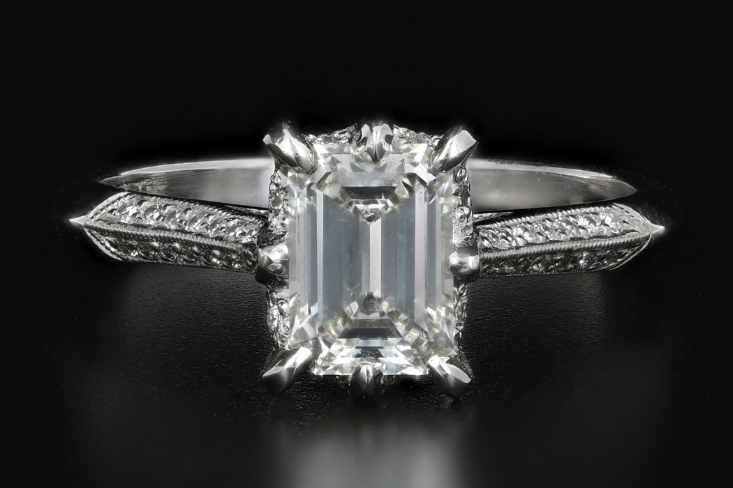 Tacori 18K White Gold .91 Carat Emerald Cut Diamond Ring GIA Certified - Queen May