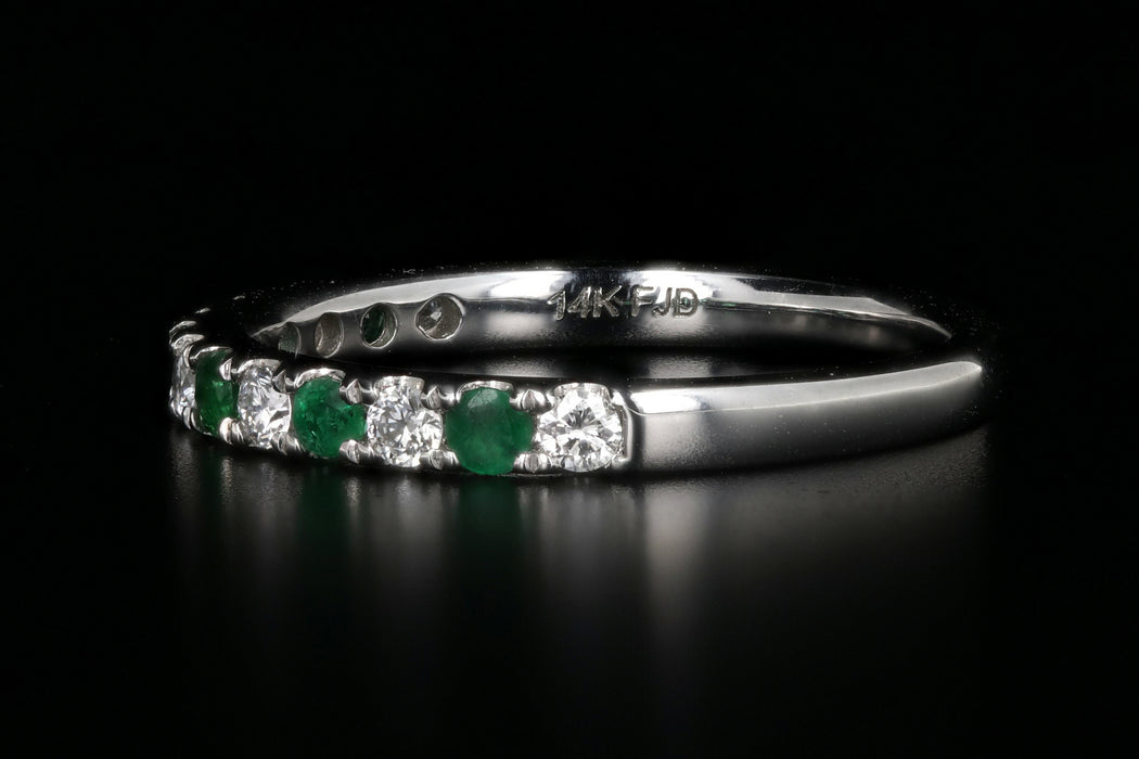 Modern 14K White Gold Diamond and Emerald Half Eternity Band - Queen May