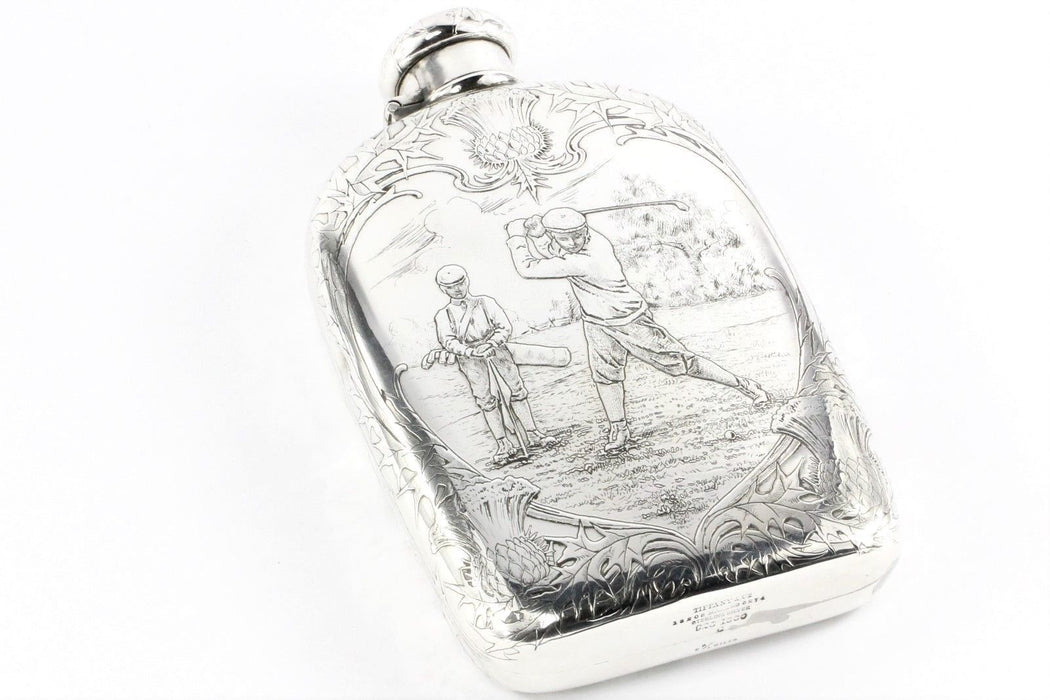 Tiffany & Co Sterling Silver Art Nouveau 1909 Large Lap Over Edge Golf Flask Trophy - Queen May