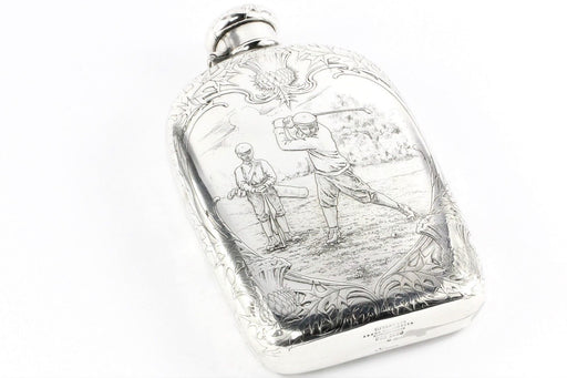 Tiffany & Co Sterling Silver Art Nouveau 1909 Large Lap Over Edge Golf Flask Trophy
