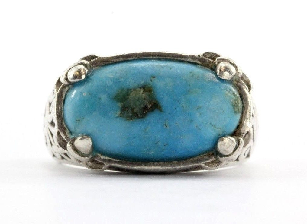 Lois Hill Sterling Silver 925 Chunky Turquoise Ring - Queen May