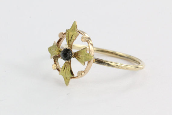 Antique 10K & 14K Rose and Yellow Gold Art Nouveau Compass Florette Stick Pin Conversion Ring Midi Ring - Queen May