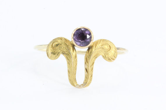 Antique Art Nouveau Ostrich Feather Plume & Amethyst Stick Pin Conversion Ring - Queen May