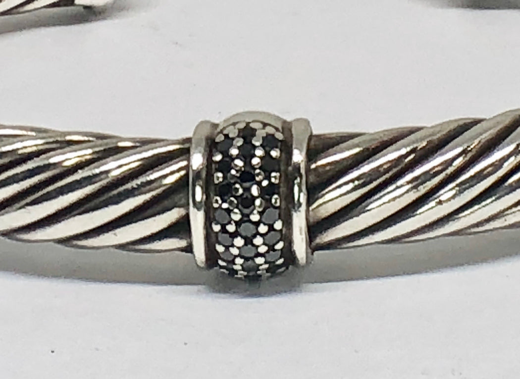 David Yurman 7mm Sterling Silver Black Diamonds Cable Cuff Bracelet - Queen May