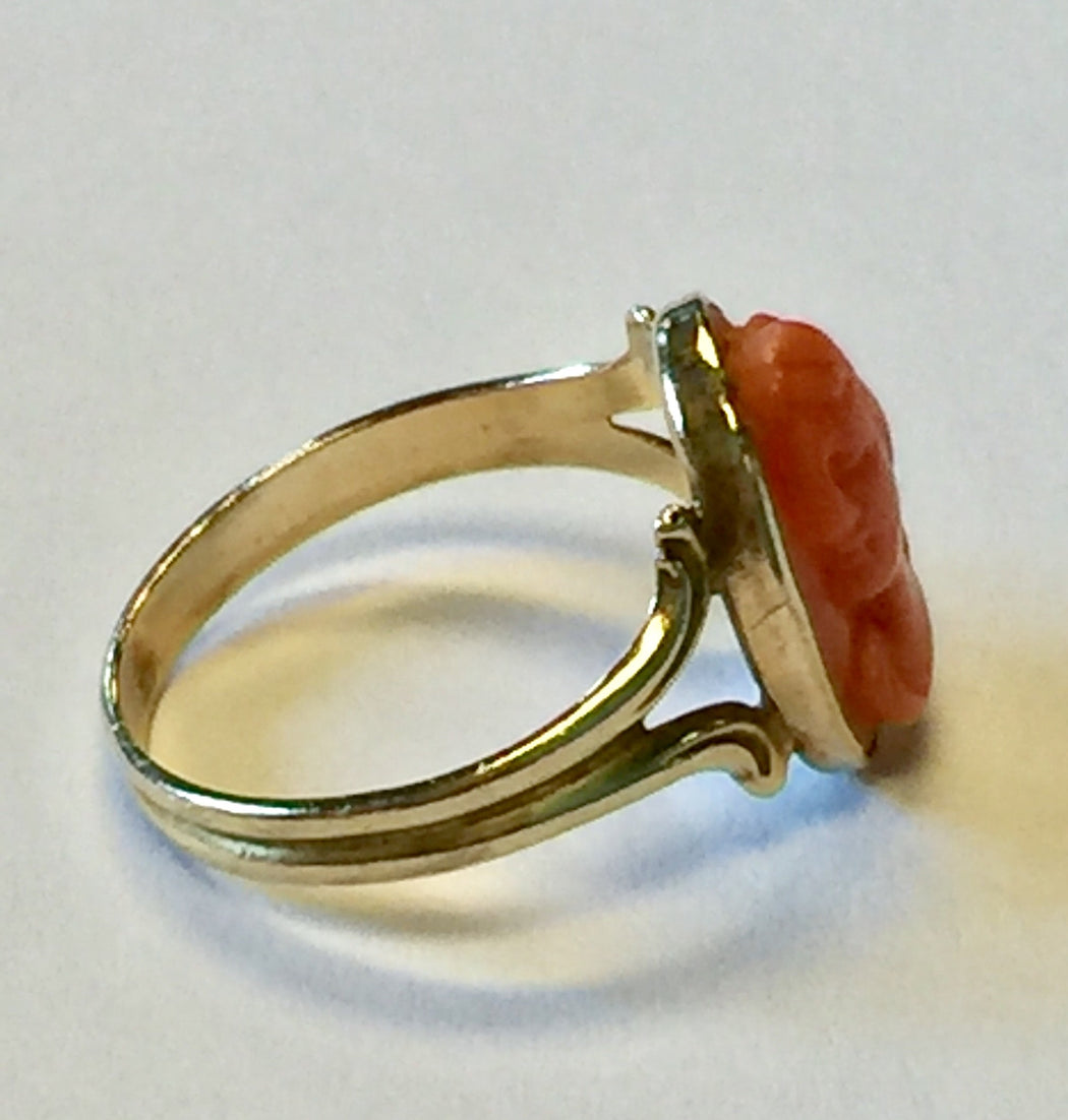 Edwardian 14k Gold Angel Skin Coral Cameo Ring c.1910 - Queen May