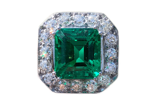 Art Deco Platinum 6.52 Carat Colombian Emerald & Diamond Ring c.1920's AGL Certified - Queen May