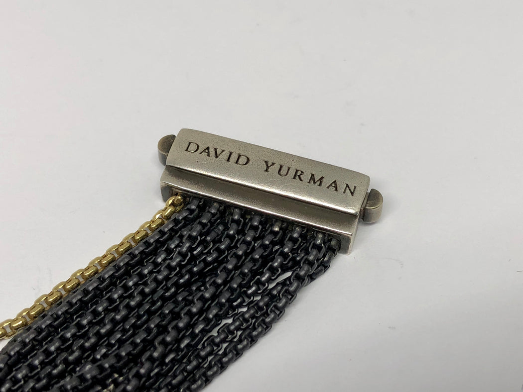 "David Yurman Sterling Silver 18k Gold Black 16 Strand Bracelet 7"" - Queen May"