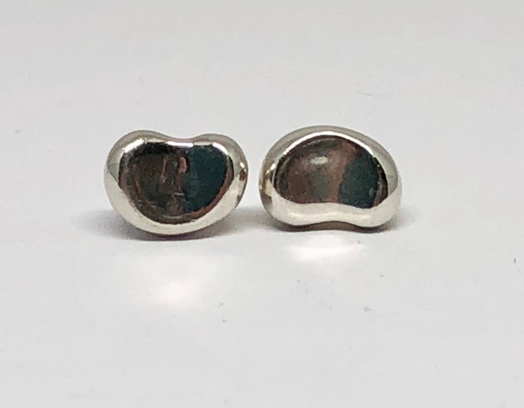 2dfd6f68e Tiffany & Co Sterling Silver Elsa Peretti Bean Stud Earrings - Queen ...