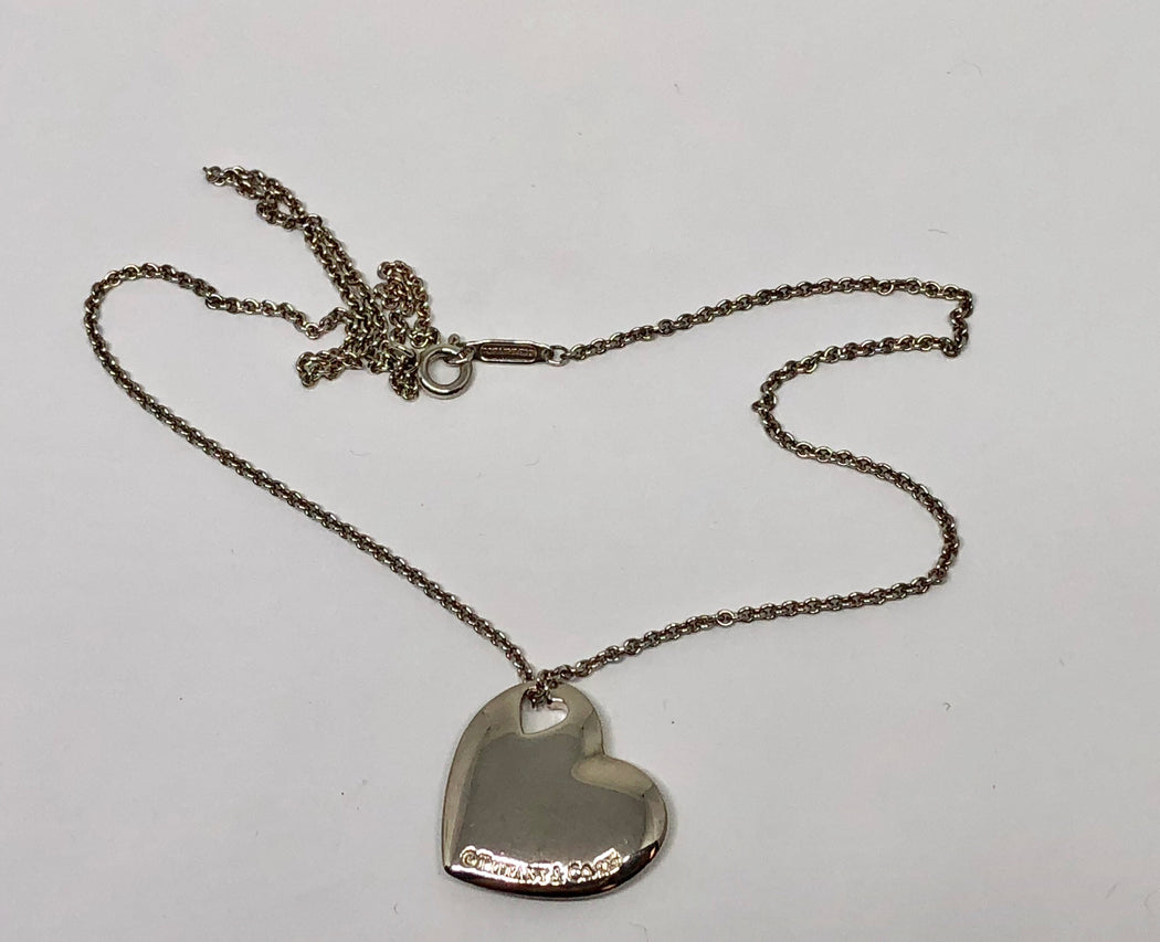 Tiffany & Co Sterling Silver Double Heart Cutout Pendant Necklace - Queen May